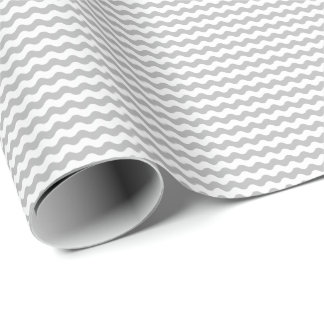 Thin Gray and White Waves Wrapping Paper