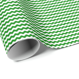 Thin Green and White Waves Wrapping Paper