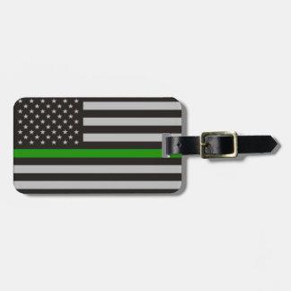 THIN GREEN LINE AMERICAN FLAG LUGGAGE TAG