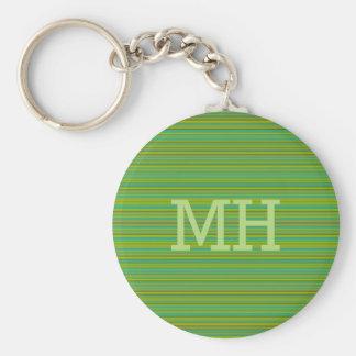 Thin Green Stripes custom monogram key chain