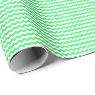 Thin Light Green and White Waves Wrapping Paper