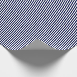 Thin Navy Blue and White Stripes Wrapping Paper