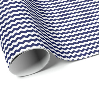 Thin Navy Blue and White Waves Wrapping Paper