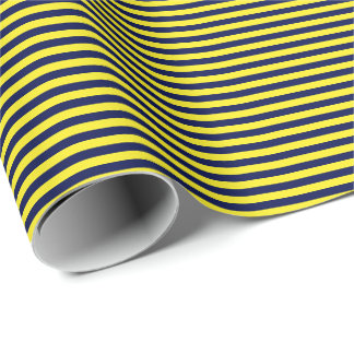 Thin Navy Blue and Yellow Stripes Wrapping Paper