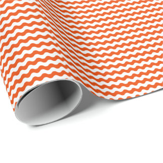 Thin Orange and White Waves Wrapping Paper