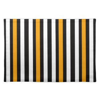 thin orange black stripes placemat