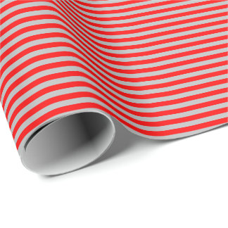 Thin Red and Gray Stripes Wrapping Paper