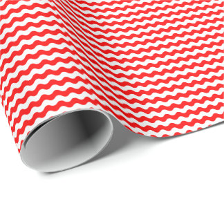 Thin Red and White Waves Wrapping Paper