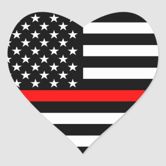 Thin Red Line American Flag Black and White Heart Sticker