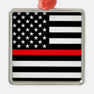 Thin Red Line American Flag Black and White Metal Ornament
