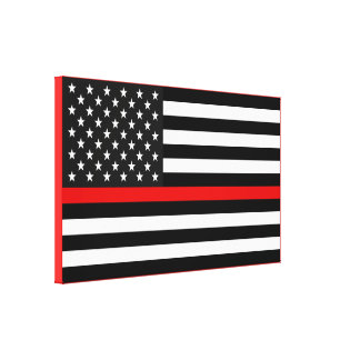 Thin Red Line American Flag Canvas Print