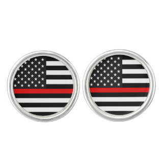 Thin Red Line American Flag Cuff Links
