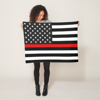 Thin Red Line American Flag Fleece Blanket