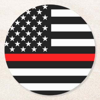Thin Red Line American Flag Graphic Decor Round Paper Coaster