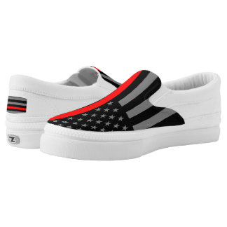 Thin Red Line American Flag graphic design on Slip-On Sneakers