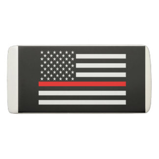 Thin Red Line American Flag graphic on a Eraser