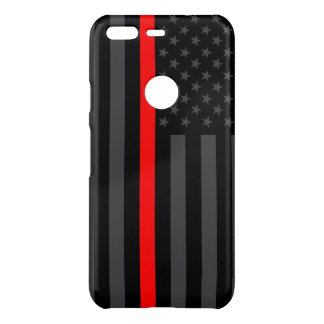 Thin Red Line American Flag graphic on a Uncommon Google Pixel Case
