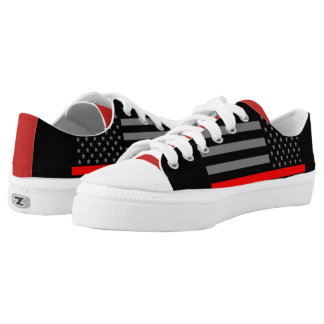 Thin Red Line American Flag graphic on Low-Top Sneakers