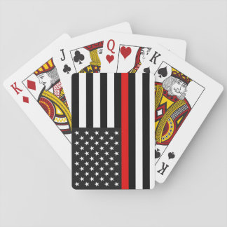 Thin Red Line American Flag Playing Cards