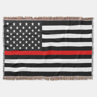 Thin Red Line American Flag Throw Blanket