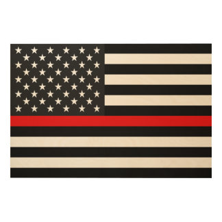 Thin Red Line American Flag Wood Wall Art
