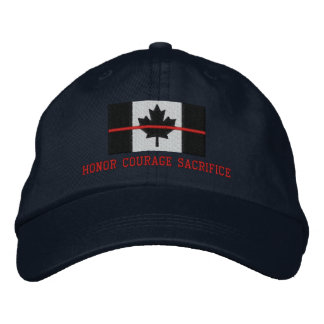 Thin Red Line Canadian Honor Courage Sacrifice Embroidered Hat