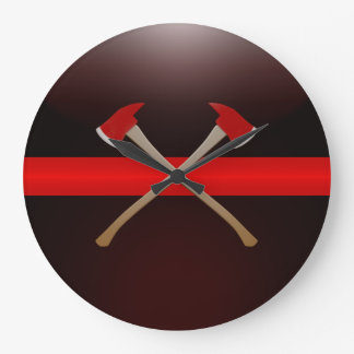 Thin Red Line Crossed Fire Axes Wall Clocks