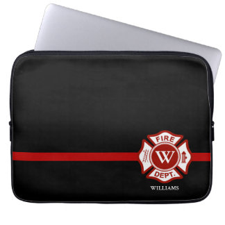 Thin Red Line Custom Monogram Maltese Cross Laptop Sleeve