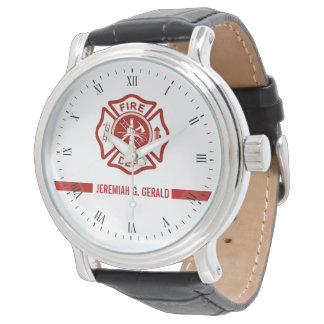 Thin Red Line Custom Name Firefighter Themed Watch