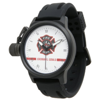 Thin Red Line Custom Name Stripe Firefighter Theme Watch