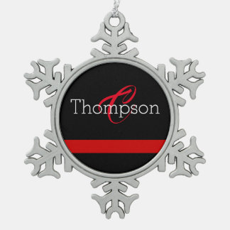 Thin Red Line Custome Monogram Christmas Ornament
