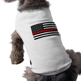 Thin Red Line Display Decor on a Doggie Tee Shirt