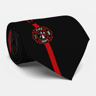 Thin Red Line Firefighter Custom Initials Black Tie
