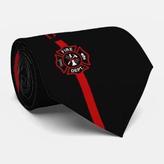 Thin Red Line Firefighter Custom Initials Black Tie