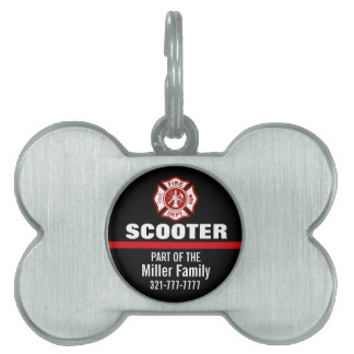 Thin Red Line Firefighter Custom Name Pet ID Tags