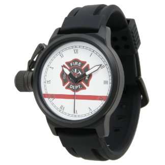 Thin Red Line Firefighter Maltese Cross White Fsce Wrist Watches