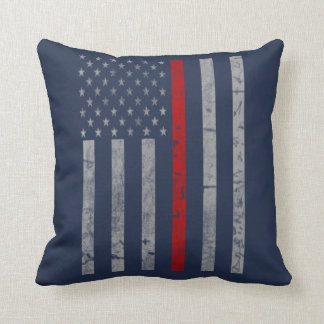Thin Red Line Flag Throw Pillow