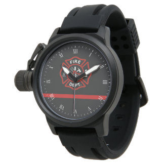Thin Red Line Maltese Cross Firefighter Watch