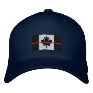Thin Red Line on Canadian Flag Embroidered Baseball Cap