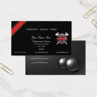 Thin Red Line Stars and Stripes Firefighter Business Card