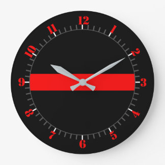 Thin Red Line Symbolic Memorial on a Large Clock