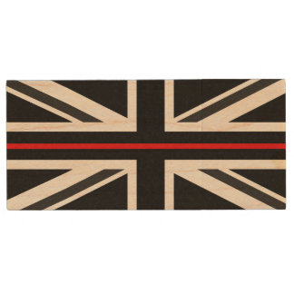 Thin Red Line UK Flag Wood USB Flash Drive