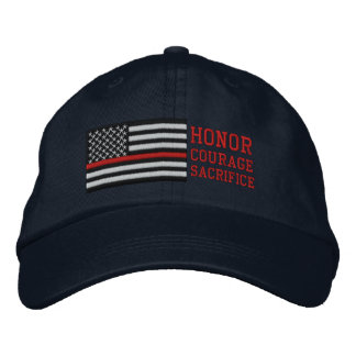Thin Red Line US Flag Honor Courage Sacrifice Embroidered Hat