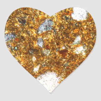 Thin section of a brick under the microscope heart sticker