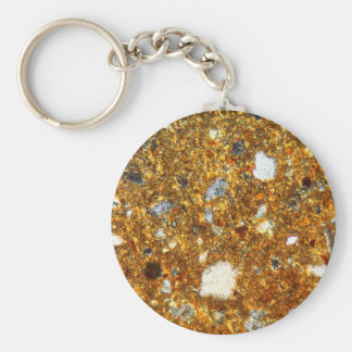 Thin section of a brick under the microscope keychain