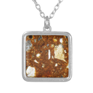 Thin section of a brick under the microscope silver plated necklace