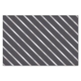 Thin Silver Metallic Diagonal Stripes Tissue Paper