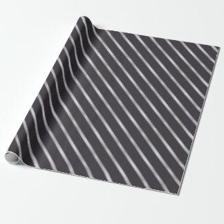 Thin Silver Metallic Diagonal Stripes Wrapping Paper