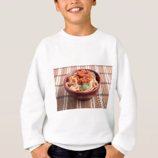Thin spaghetti with tomato relish and basil leaves sweatshirt