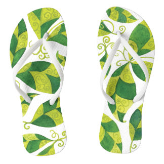 Thin Strap Flip Flops with Colourful Green Leaves